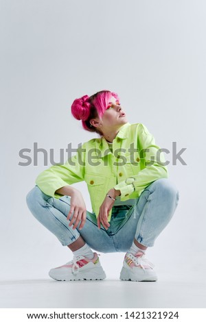 woman with pink hair fashion retro style