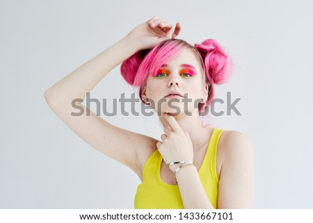 woman with pink hair on a light background #1433667101
