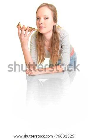 woman with pizza isolated on white
