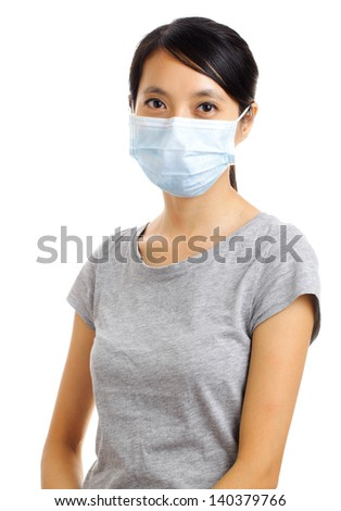 woman with protective face mask isolated on white