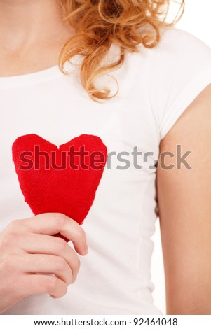 woman with red heart - stock photo