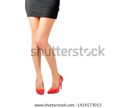 Woman with red high heel shoes, isolated on white background #1414573013