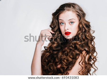 Woman With Red Lipstick Curly Hair Fashion Girl With Healthy Long