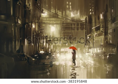 woman with red umbrella...
