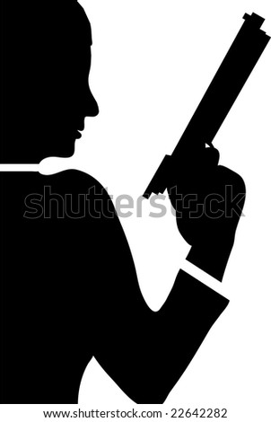 woman with revolver isolated on white background illustration