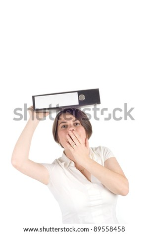 Woman with ring binders on white background