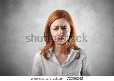 Woman with sad expression