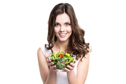 Woman with salad Isolated. Healthy lifestyle.