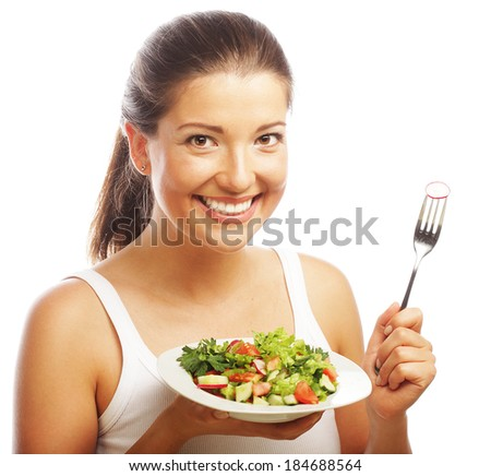 woman with salad on white background #184688564