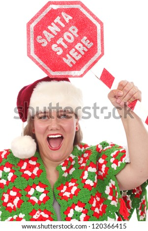Woman with Santa Stop Here sign