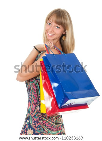 woman with shopping bag isolated on white