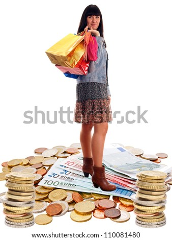 woman with shopping bags and many money / shopping