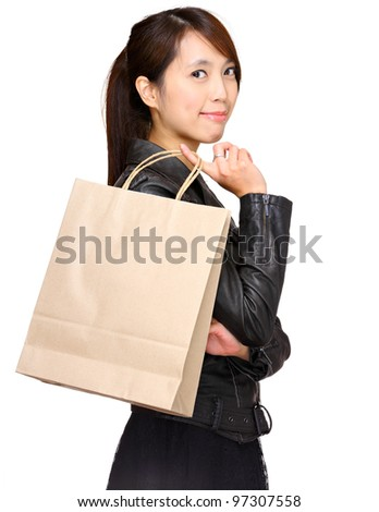 woman with shopping paper bag