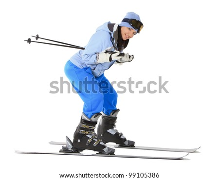 woman with ski over white background