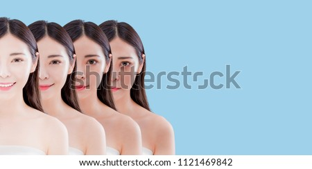 woman with skin whitening concept on the blue background