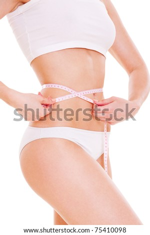 woman with slender waist over white background