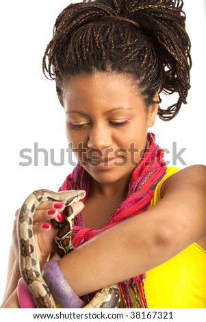 woman with snake on the white background