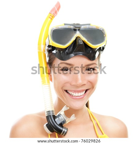 Woman with snorkel mask tuba and snorkel. Snorkeling, swimming, vacation concept isolated on white background. Chinese Asian / Caucasian female model