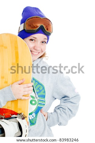 Woman with snowboard. Isolated over white.