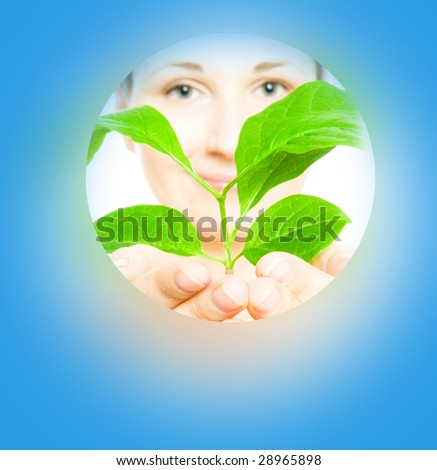 woman with sprout  on a blue background