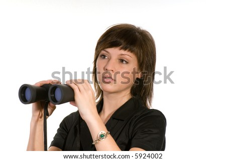 woman with spyglass