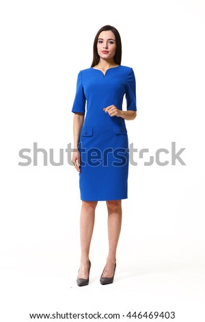 woman with straight hair style in formal bluse short sleeve dress  high heel shoes  full body length isolated on white