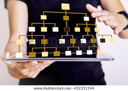 Woman with tablet PC displays hierarchical structure #432331144