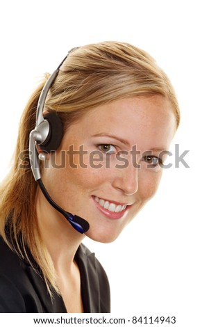 Woman with telephone headset in customer service. Order acceptance and Hotline