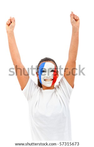 Woman with the French flag painted on her face and arms up - over a white background