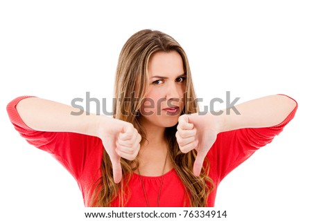 Woman with thumbs down - isolated over a white background