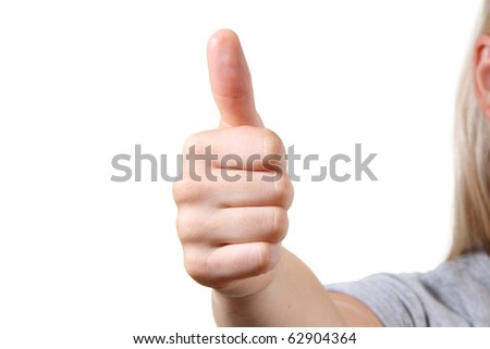 woman with thumbs up. isolated on white