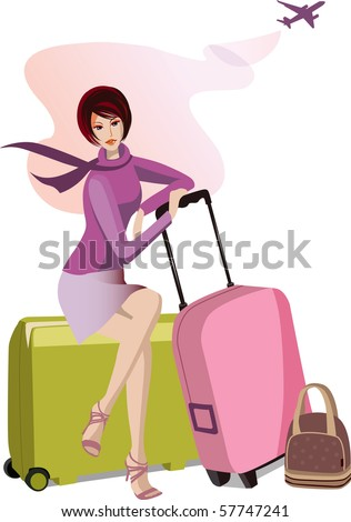 Woman with travel cases. Raster version of vector illustration. - stock photo