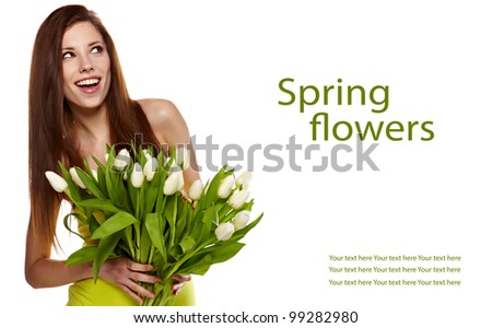 Woman with  tulips bouquet of flowers smiling isolated on white background