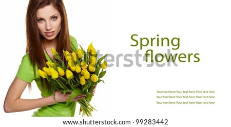 Woman with  tulips bouquet of flowers smiling isolated on white background - stock photo