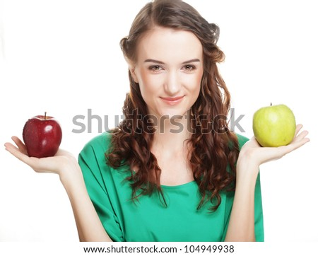 woman with two different apples