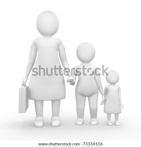 Woman with two kids and business suitcase - stock photo