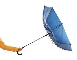 Woman with umbrella caught in gust of wind on white background, closeup