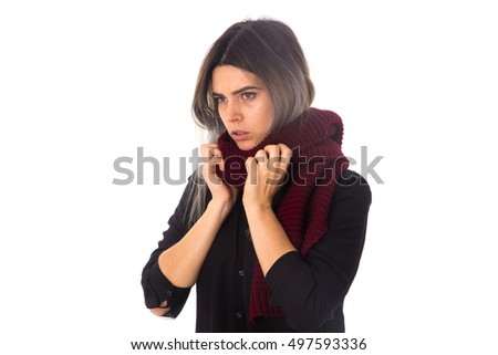 Woman with vinous scarf
