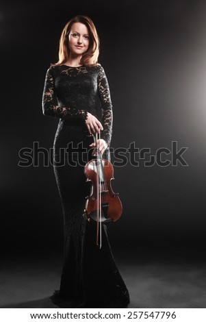 Woman with violin player violinist music performer