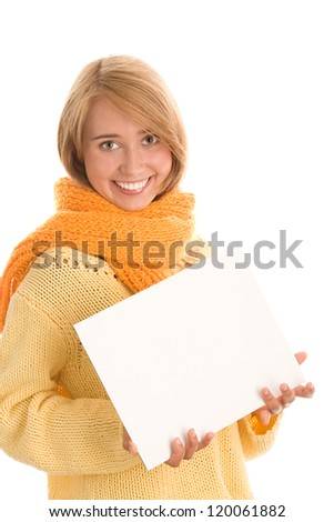 Woman with whitecard