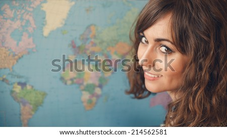woman with world map in...