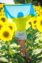 Woman with yellow-blue flag of Ukraine. girl in embroidery runs along field of heresies. Fun on Independence Day of Ukraine and Day of flag Ukraine