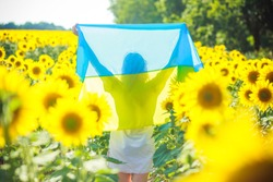 Woman with yellow-blue flag of Ukraine. girl in embroidery runs along field of heresies. Fun on Independence Day of Ukraine.
