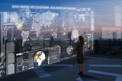 Woman work on high tech screen, next generation of technology