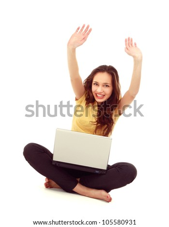 Woman work on laptop ,hand up, isolated on white background