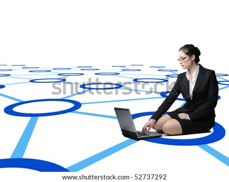 woman work with laptop on virtual 3d connection web
