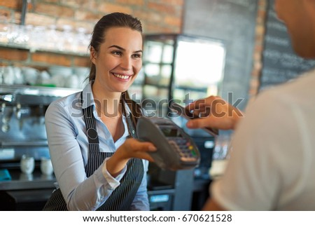 Woman working at cafe #670621528