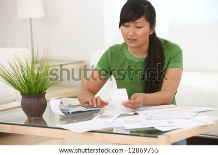 Woman working on finances