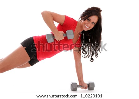 Woman working out on a white background