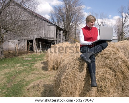 woman working wireless in the country